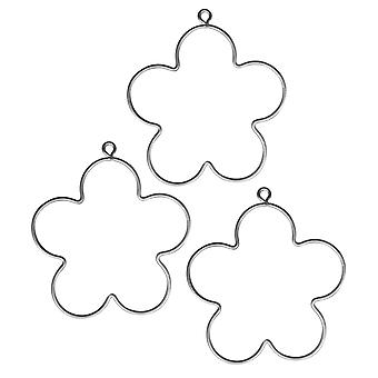 3 Hanging Metal Wire Flowers to Decorate - 7.5cm | Metal Wire & Craft Hoops