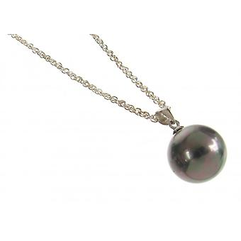 Cavendish French Sterling Silver and Black Shell Pearl Ball Pendant without Chain