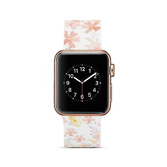 Siliconen klockrem voor Apple Watch 4 40 mm, 3/2/1-38 mm-bloemen