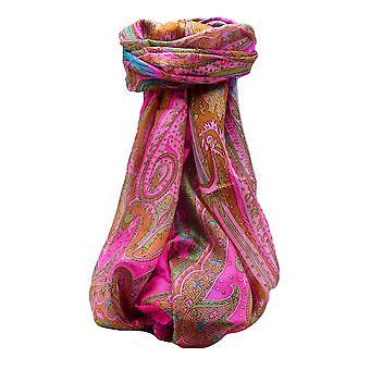 パシュミナ ・ シルクで桑絹の伝統的な長いスカーフ Chadar ピンク