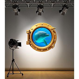 Full Colour Brass Porthole Dolphin V2 Wall Sticker