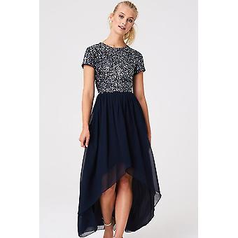 Little Mistress Elise Navy Hand Embellished Sequin Hi-Low Prom Dress