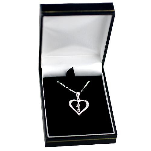 Silver 18x18mm initial E in a heart with rolo chain