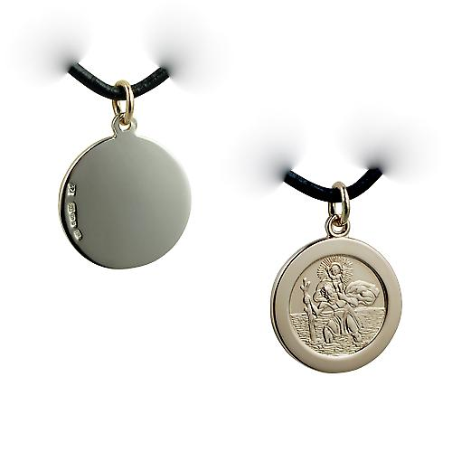 1/20th 14ct yellow gold on Silver 21mm round St Christopher Pendant with a Leather Pendant Cord 20 inches