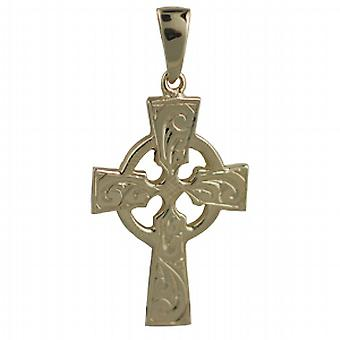 9ct Gold 35x24mm hand engraved Celtic Cross with bail