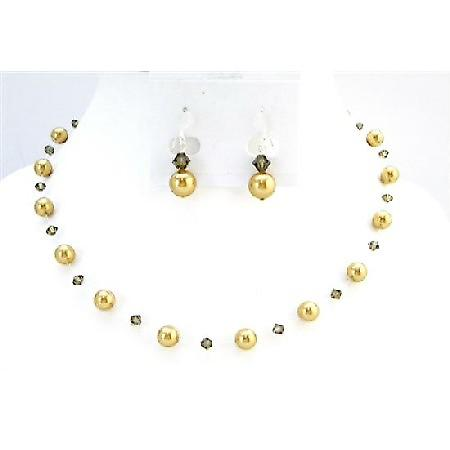 Bridal Jewelry Low Prices Swarovski Golden Pearls Smoky Quartz Jewelry