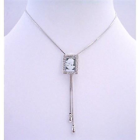 Cameo Pendant Necklace Cameo Glass Pendant w/ Chain Adjustable Pendant