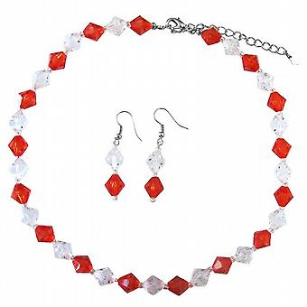 Red & Clear Crystals Cheap Wedding Immitation Crystals Jewelry Set