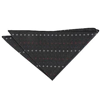 Grey with White and Burgundy Mini Diamond Geometric Pocket Square