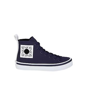 Kenzo Blue Fabric Hi Top Sneakers
