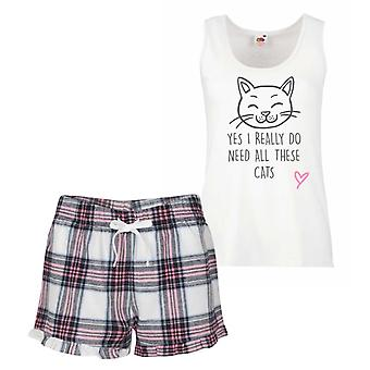 Yes I Really Do Need All These CatsPink Tartan Pyjamas