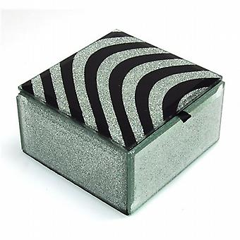 Hestia Ladies Zebra Print Square Glass Jewellery Box