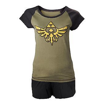 Women's The Legend of Zelda Hyrule logo zwart-groen Shortama set