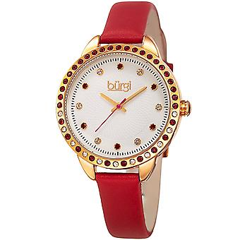 Burgi Women's BUR161  Swarovski Colored Crystal Bezel Embossed Dial Strap Watch BUR161RD
