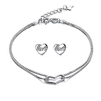 925 Sterling Silver Continuous Open Heart Bracelet And Studs Set