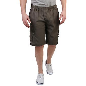 KRISP  Mens Plain Basic Casual Cotton Cargo Shorts Cropped Chinos Combat Pants Regular