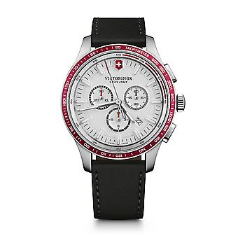 Victorinox Alliance Sport Chronograph Tachymeter White Dial Leather Strap Mens Watch 241819 44mm