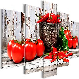 Canvas Print - Red Vegetables (5 Parts) Wood Wide