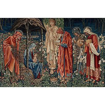 The adoracion of the three Kings,Edward Burne-Jones,60x40cm