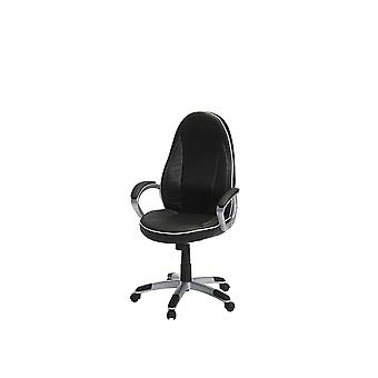 Furnhouse  Speedy 4 Office Chair, Black/White PU, Plastic Base, 61x66x119 cm