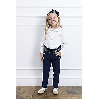 Navy girl pants with tweed detail