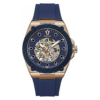 Watch Guess LEGACY W1247G2 - watch automatic Bracelet Silicone Blue Man Rose Gold case