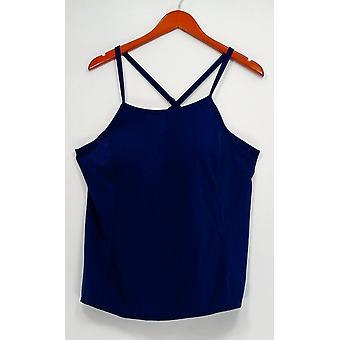 Denim & Co. Plus Swimsuit Beach Swim Top w/ Criss Cross Blue A304238