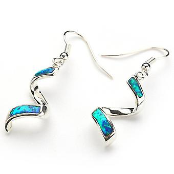 925 Sterling Silver Spiral Opal And Cubic Zirconia Earrings