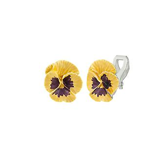 Eternal Collection Pansy Perfection Yellow Enamel Silver Tone Flower Stud Clip On Earrings