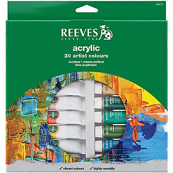 Reeves Acrylic Paints 22Ml 20 Pkg Assorted Colors 8390112