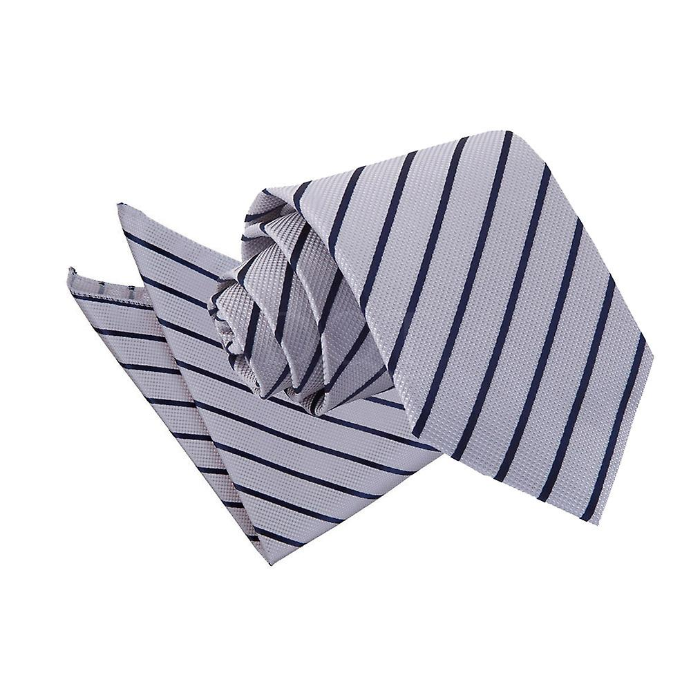 Silver & Navy Single Stripe Tie & Pocket Square Set