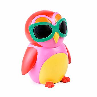 Colourful Red Bird in Sunglasses Resin Money Box Savings Bank