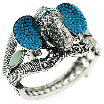 Antique Silver and Turquoise Blue Beads Elephant Bracelet Bangle