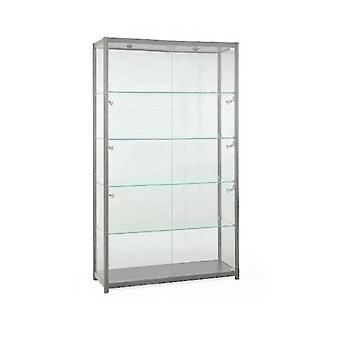 Silver Glass Display Cabinet with 8 Lights - 1200mm