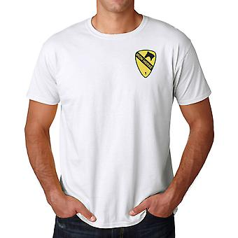 US Army 1st Cavalry Iron Horse Embroidered logo - Ringspun Cotton T Shirt