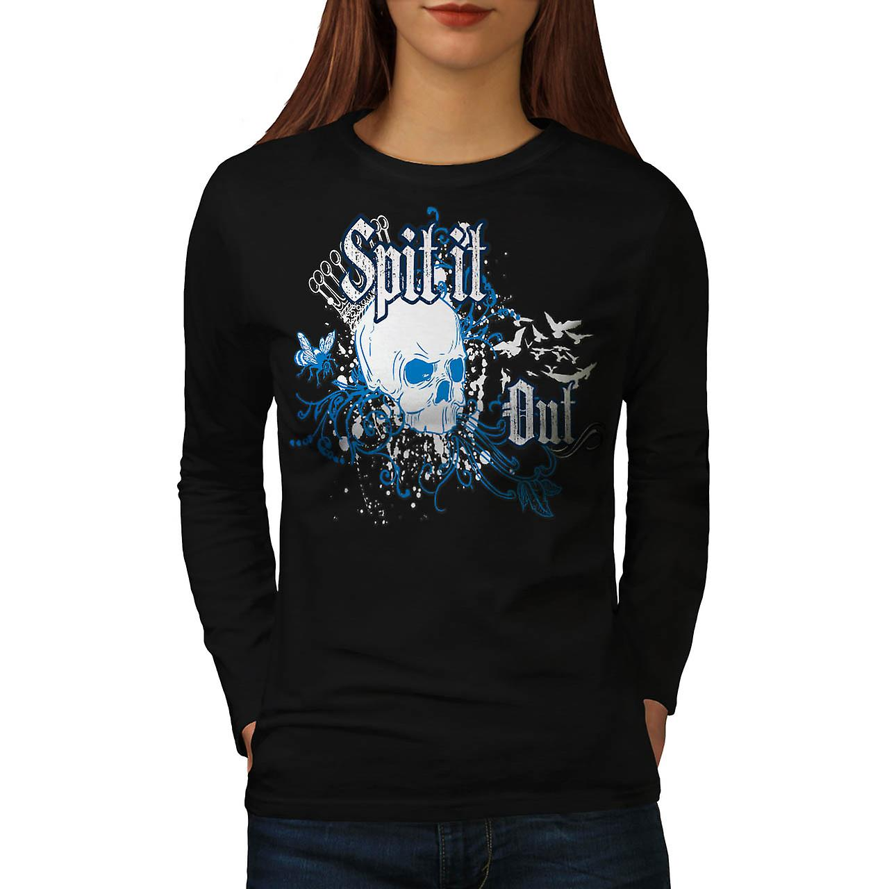Skull Spit It Out Jaw Death Head Women Black Long Sleeve T-shirt | Wellcoda