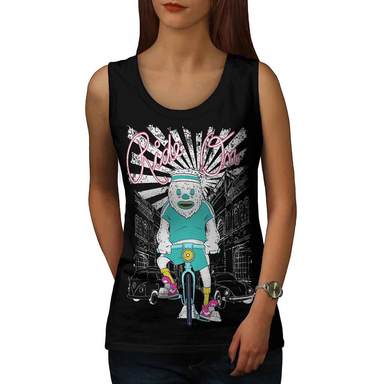 Ride On Monster Bike Cycle City Women Black Tank Top | Wellcoda