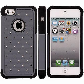 Cover with bright plastic PC and iPhone Silicon 5/5S (grey)