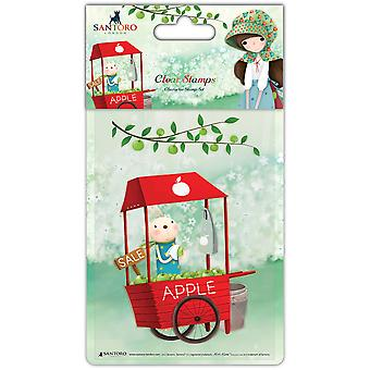 Santoro Kori Kumi Character Stamp A6-An Apple A Day, Cart SKKSTMP1