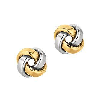 14 k tweekleurig goud liefde knoop oorbellen - 2,3 gram