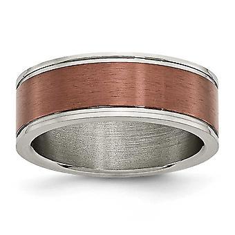 Titanium Brown IP-verguld gegroefde rand 8mm bruin verguld geborsteld en gepolijst Band Ring - Ringmaat: 7 tot en met 13