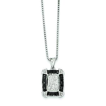 Sterling Silver Black and White Diamond Pendant Necklace - .34 dwt