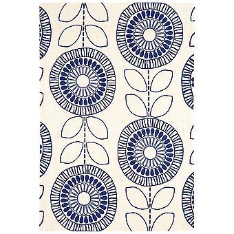 Onix Blue Floral Modern Cotton Rug