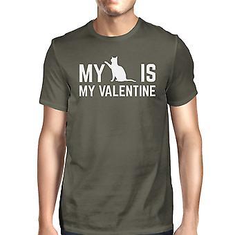 Mijn kat mijn Valentijn mannen de donkere T-shirt Cotton Crew-Neck Shirt grijs