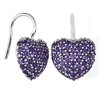 Burgmeister earhooks heart, JHE1029-321, purple zirconia, 925 sterling silver rhodanized