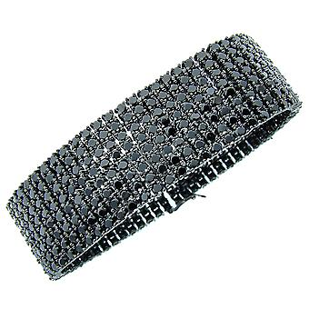 Iced Out Bling Premium Armband - 8 ZIRCONIA ROWS schwarz