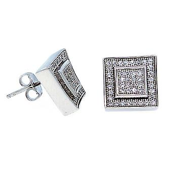 925 sterling silver MICRO PAVE earrings - LAYER 10 mm