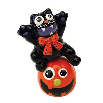 Halloween Jack-O-Lantern Black Cat magnética cerámica sal y pimienta coctelera Set