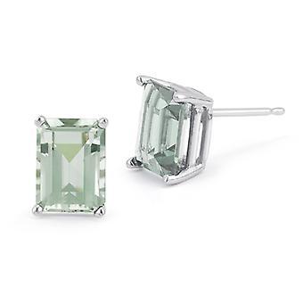 3.40 Carat Emerald-Cut Green Amethyst Stud Earrings