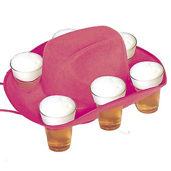 Beer Hat beer mug Hat pink for 6 glasses tray Oktoberfest Cowboyhat
